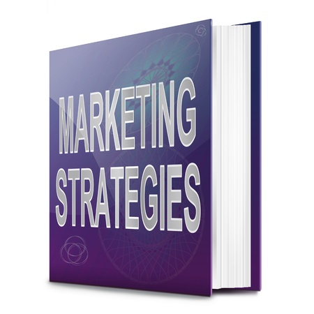 targetting: Illustration depicting a book with a marketing strategies concept title  White background  Stock Photo