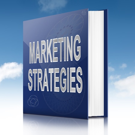 targetting: Illustration depicting a book with a marketing strategies concept title  Sky  background