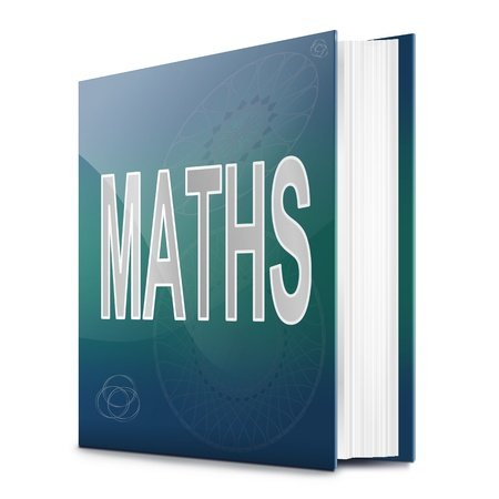 sums: Illustration depicting a book with a maths concept title  White background  Stock Photo