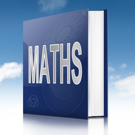 sums: Illustration depicting a book with a maths concept title  Sky background