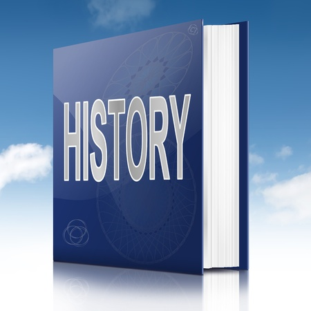 Illustration depicting a text book with a history concept title  White background