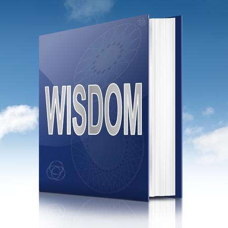 lessons: Illustration depicting a book with a wisdom title. Sky background.