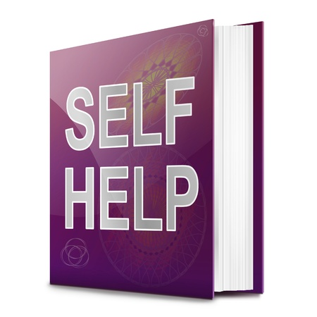 self improvement: Illustration depicting a book with a self help concept title. White background. Stock Photo