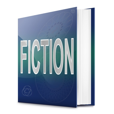 fib: Illustration depicting a book with a fiction concept title. White background.