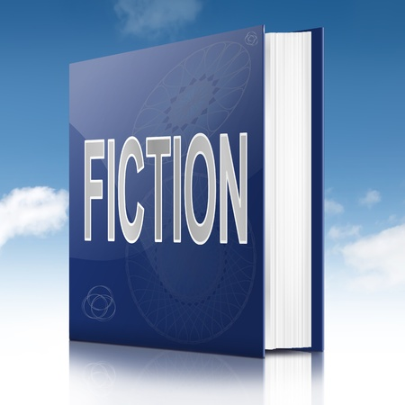 fib: Illustration depicting a book with a fiction concept title. Sky background.