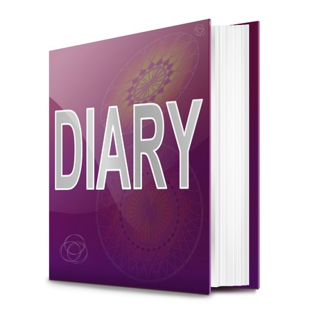 agenda year planner: Illustration depicting a book with a diary title. White background. Stock Photo