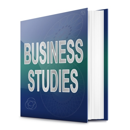 self study: Illustration depicting a text book with a business studies concept title. White background.