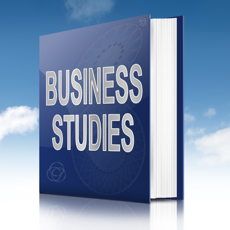 Illustration depicting a text book with a business studies concept title. Sky background.