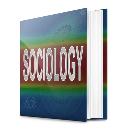 sociology: Illustration depicting a text book with a sociology concept title. White background.