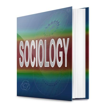 sociologia: Ilustraci�n que representa a un libro de texto con un t�tulo concepto sociolog�a. Fondo blanco.
