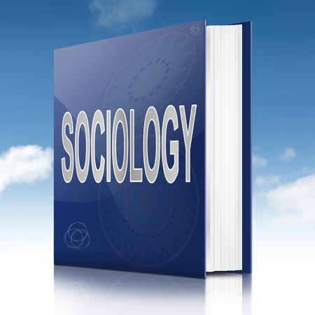sociology: Illustration depicting a text book with a sociology concept title. Sky background.
