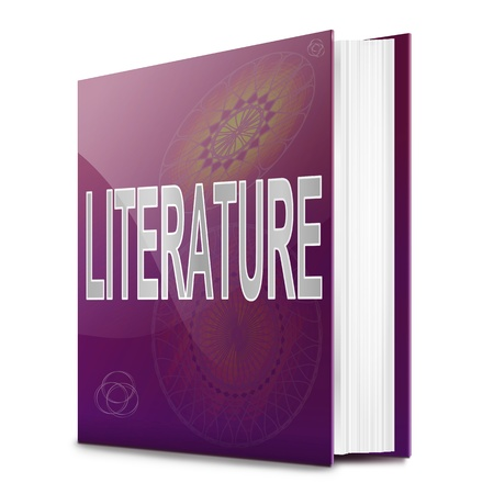 prose: Illustration depicting a text book with a literature concept title. White background.