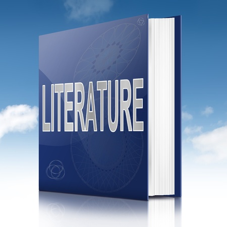 prose: Illustration depicting a text book with a literature concept title. Sky background.