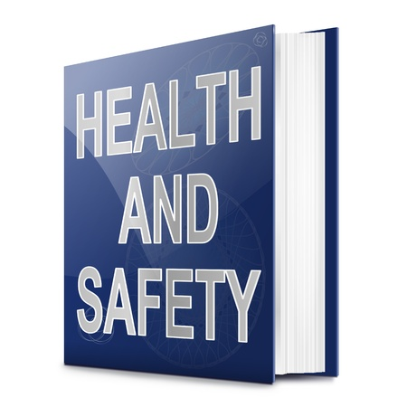 Illustration depicting a text book with a health and safety concept title. White background. Stock Photo