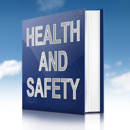 hazardous work: Illustration depicting a text book with a health and safety concept title. Sky background.
