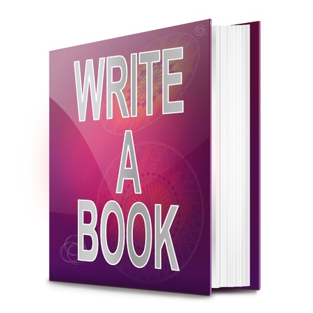 journals: Illustration depicting a book with a book writing concept title. White background. Stock Photo