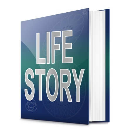 biography: Illustration depicting a book with a life story concept title. White background.