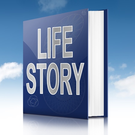 life event: Illustration depicting a book with a life story concept title. Sky background.