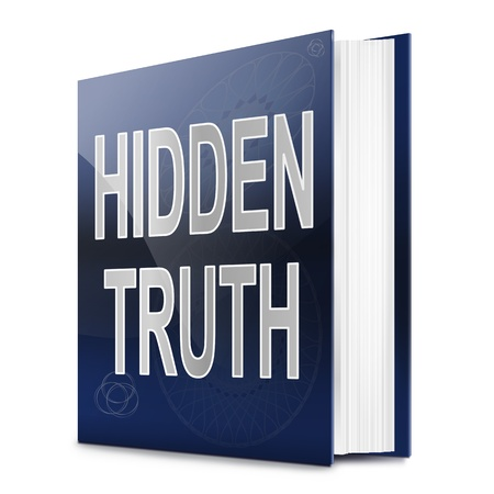 truths: Illustration depicting a book with a hidden truth concept title. White background.