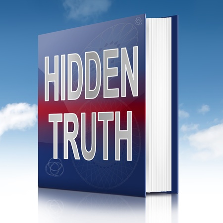 숨겨진 진실 개념 제목으로 책을 묘사 한 그림입니다. 하늘 배경입니다.