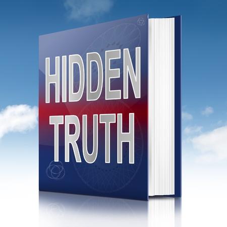 honestidad: Ilustración que muestra un libro con un título concepto verdad oculta. Sky fondo.