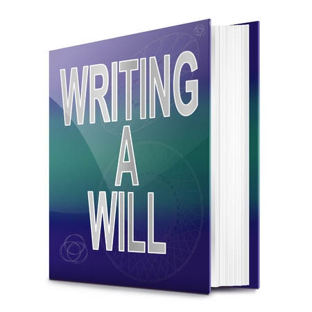 estate planning: Illustration depicting a book with a writing a will concept title. White background. Stock Photo