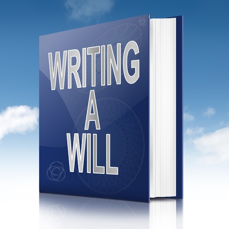 monies: Illustration depicting a book with a writing a will concept title. Sky background. Stock Photo