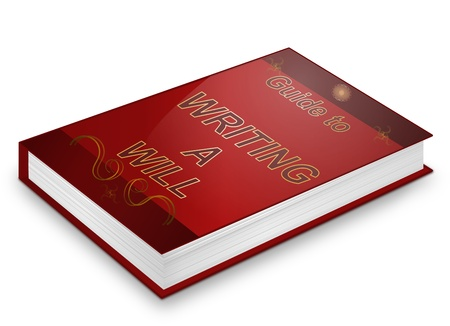 legacy: Illustration depicting a book with a writing a will concept title. White background. Stock Photo