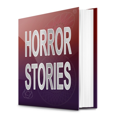 Illustration depicting a book with a horror stories concept title. White background. Stock Illustration - 17461923