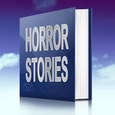 scary story: Illustration depicting a book with a horror stories concept title. Sky background.