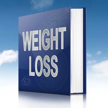 weight control: Illustration depicting a book with a weight loss concept title. Sky background.