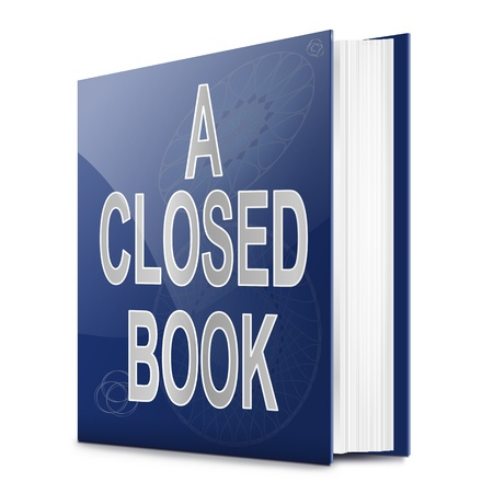 secretive: Illustration depicting a book with a closed book concept title. White background. Stock Photo