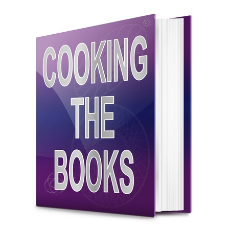 scamming: Illustration depicting a book with a cooking the books concept title. White background.