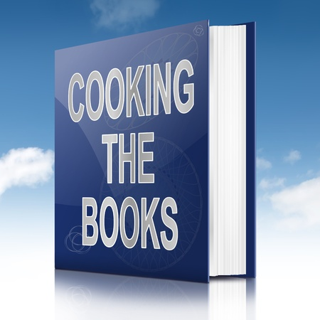 scamming: Illustration depicting a book with a cooking the books concept title. Sky background.