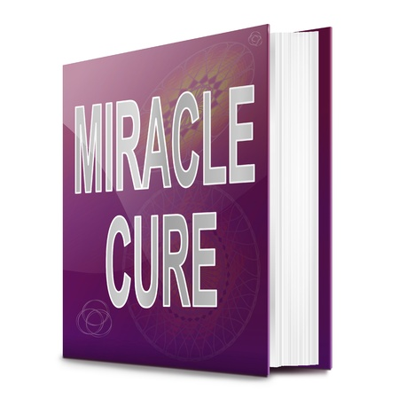Illustration depicting a book with a miracle cure concept title. White background. Stock Photo