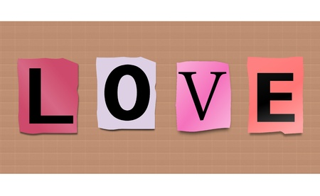 Illustration depicting cutout printed letters arranged to form the word love. illustration