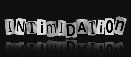 extortion: Illustration depicting cutout printed letters arranged to form the word intimidation. Stock Photo