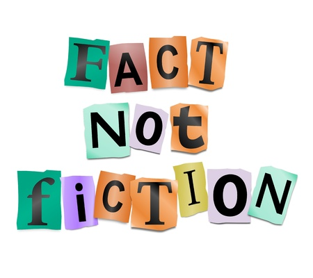 Illustration depicting cutout printed letters arranged to form the words fact not fiction.
