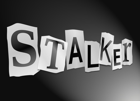 Illustration depicting cutout printed letters arranged to form the word stalker.