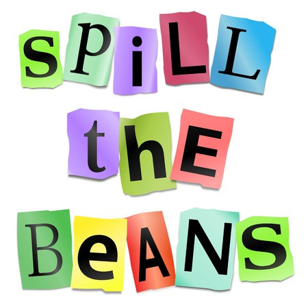 Illustration depicting cutout printed letters arranged to form the words spill the beans  Фото со стока