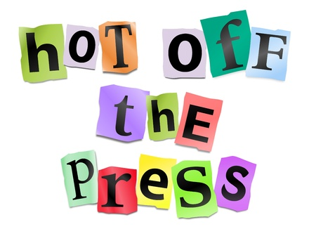 news background: Illustration depicting cutout printed letters arranged to form the words hot off the press  Stock Photo