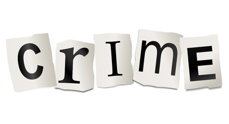 infringement: Illustration depicting cutout printed letters arranged to form the word crime  Stock Photo