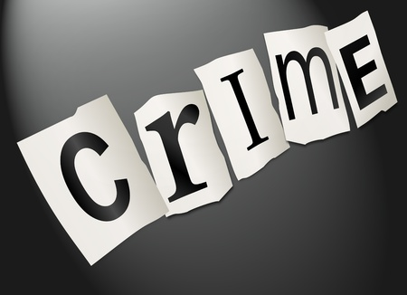 Illustration depicting cutout printed letters arranged to form the word crime Stock Illustration - 17663626