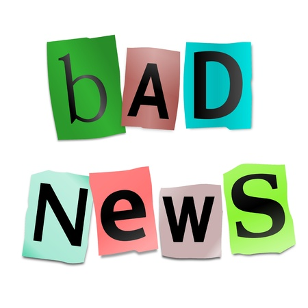 distressing: Illustration depicting cutout printed letters arranged to form the words bad news