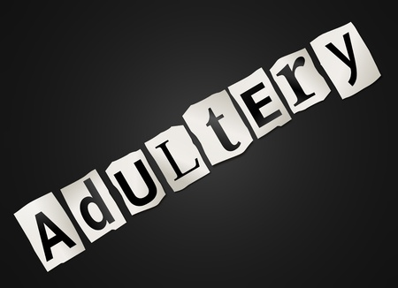 the spouse: Illustration depicting cutout printed letters arranged to form the word adultery.