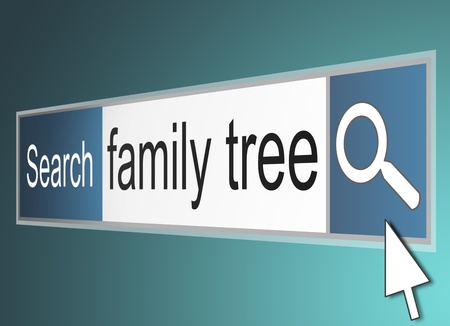 lineage: Illustration depicting a computer screenshot of a search bar with the words family tree. Stock Photo