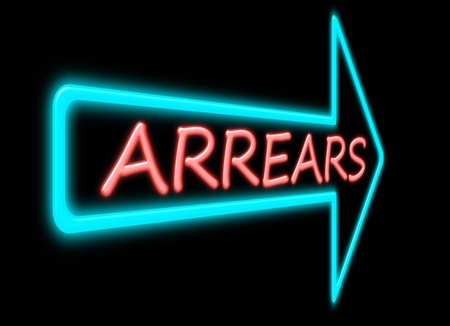 owe: Illustration depicting a neon light forming the word arrears. Stock Photo