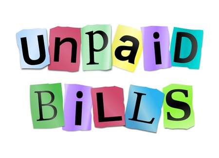 owe: Illustration depicting cutout printed letters arranged to form the words unpaid bills. Stock Photo