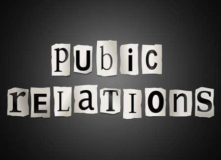 relations publiques: Illustration de la d�coupe des lettres imprim�es dispos�es pour former les mots de relations publiques.
