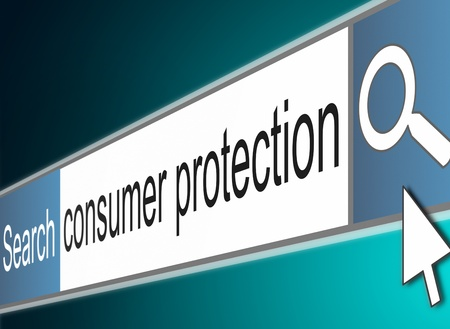 consumer rights: Illustration depicting a screenshot of an internet search bar with a consumer protection concept. Stock Photo
